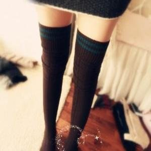 Navy stripe knee-high tights stocki..