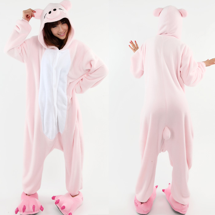 Christmas gift!pink pig coral fleece coverall leisure wear