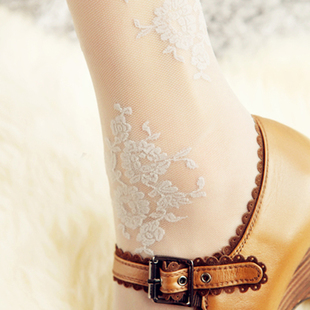 Vintage lace white flowers tights stockings/leggings