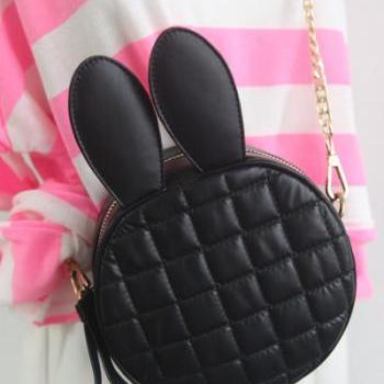Cute bunny ears diamond-shaped circular chain bag